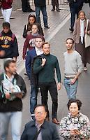 HSTA 20151015 USA, New York CIty. 3 employees of Gemic. Johannes Suikkanen (green turtle neck, C), Kevin Elliott (blue blazer, L) and Alex Jinich (grey tshirt, R). Photographer: David Brabyn