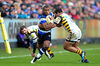 Semesa Rokoduguni of Bath Rugby takes on the Wasps defence. Aviva Premiership match, between Bath Rugby and Wasps on March 4, 2017 at the Recreation Ground in Bath, England. Photo by: Patrick Khachfe / Onside Images