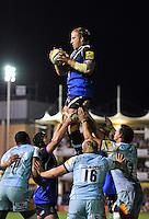 Dominic Day wins lineout ball. Aviva Premiership match, between Bath Rugby and Northampton Saints on September 14, 2012 at the Recreation Ground in Bath, England. Photo by: Patrick Khachfe / Onside Images