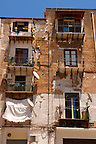 poor dilapidated houses of Palermo old town, Sicily
