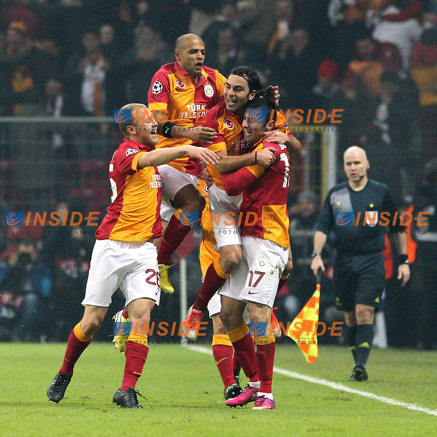 20.02.2013, Tuerk Telekom Arena, Istanbul, TUR, UEFA Champions League, Galatasaray Istanbul vs Schalke 04, Achtelfinale Hinspiel, im Bild Torjubel von Mannschaft Galatasaray // during the UEFA Champions League last sixteen first leg match between alatasaray Istanbul vs Schalke 04 at the Tuerk Telekom Arena, Istanbul, Turkey on 2013/02/20. EXPA Pictures © 2013, PhotoCredit: EXPA/ Eibner/ Kolbert..***** ATTENTION - OUT OF GER *****