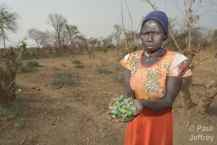 Regina Abuk displays wild fruits on which she and her neighbors survive in Yang Kuel, a village in South Sudan's Lol State where a persistent drought has destroyed crops and left people hungry. The fruit--a so-called &quot;hunger food&quot;--must be dried, pulverized, and boiled before it can be eaten.<br /> <br /> A local partner of Christian Aid, a member of the ACT Alliance, dug a new well for the community in 2016, providing a source of safe water and saving Abuk a one-hour walk to a well. The organization has also distributed food vouchers to hungry families in the region.