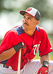 22 February 2013: Washington Nationals' shortstop Ian Desmond awaits his turn in the batting cage during a full squad Spring Training workout at Space Coast Stadium in Viera, Florida. Mandatory Credit: Ed Wolfstein Photo *** RAW File Available ***