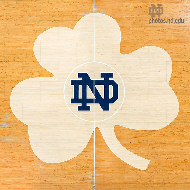 April 21, 2017; Purcell Pavilion basketball floor shamrock, 2017 (Photo by Matt Cashore/University of Notre Dame)