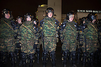 Moscow, Russia, 15/12//2010..Riot police around Kievsky railway station, where police detained up 1,000 people during an operation to prevent ethnic riots. There were scuffles as hundreds of riot police were deployed to prevent clashes between Russian nationalists and traders from the Caucasus, many of whom work at a market near the station.