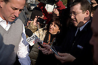 Former senator speaks with the media at a campaign stop at Pelletier's Sports Shop in Jaffrey, New Hampshire, on Jan. 6, 2012.  Santorum is seeking the 2012 GOP Republican presidential nomination.