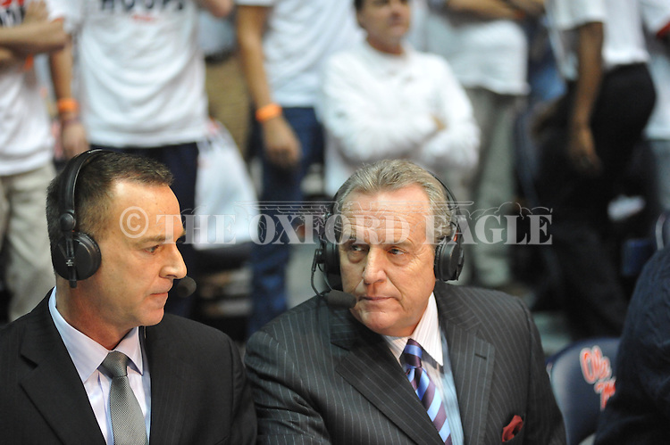 "ESPN's Brad Nessler (right) calls the Ole Miss vs. Kentucky game at the C.M. ""Tad"" Smith Coliseum on Tuesday, January 29, 2013."