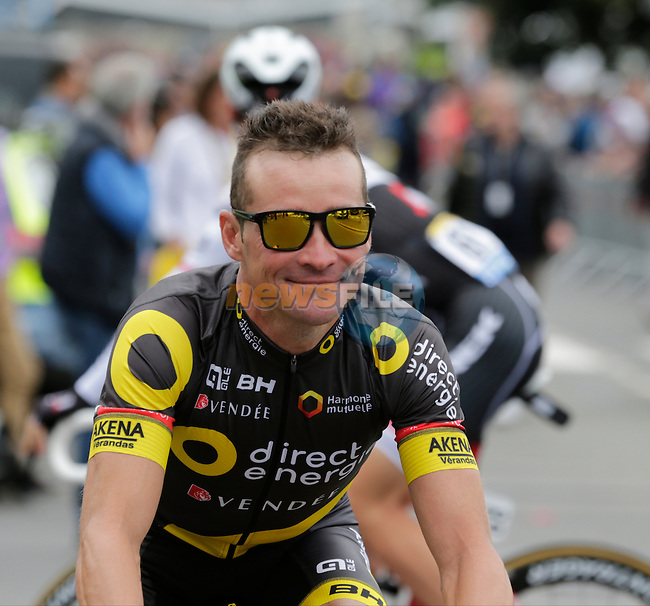 Thomas Voeckler (FRA) Direct Energie makes his way to sign on before the start of Stage 3 of the 2016 Tour de France, running 223.5km from Granville to Angers, France . 4th July 2016.<br /> Picture: Eoin Clarke | Newsfile<br /> <br /> <br /> All photos usage must carry mandatory copyright credit (&copy; Newsfile | Eoin Clarke)
