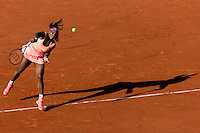 June 4, 2015: Serena Williams of United States of America celebrates after winning a Semifinal match against Timea Bacsinszky of Switzerland on day twelve of the 2015 French Open tennis tournament at Roland Garros in Paris, France. Williams won 46 63 60. Sydney Low/AsteriskImages