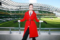 29/9/2010. Marks and Spencer's new Autumn Winter Fashion Collection. Model Baiba Gaile is pictured wearing a red military coat EUR135, white shirt EUR35, stripe tie EUR40 and black leather leggings EUR30 at the Aviva stadium, Dublin for the launch of Marks and Spencer's new Autumn Winter Fashion Collection. Picture James Horan/Collins Photos