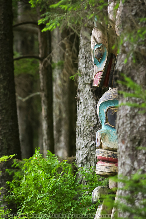 Totem in the Sitka National Historic Park. Site of a Tlingit Indian Fort and the battle fought between the Russians and the Tlingits in 1804.