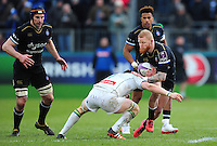 Tom Homer of Bath Rugby is tackled in possession. European Rugby Challenge Cup match, between Bath Rugby and Pau (Section Paloise) on January 21, 2017 at the Recreation Ground in Bath, England. Photo by: Patrick Khachfe / Onside Images