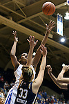 01 February 2016: Duke's Amber Henson (behind) shoots over Notre Dame's Kathryn Westbeld (33). The Duke University Blue Devils hosted the University of Notre Dame Fighting Irish at Cameron Indoor Stadium in Durham, North Carolina in a 2015-16 NCAA Division I Women's Basketball game. Notre Dame won the game 68-61.
