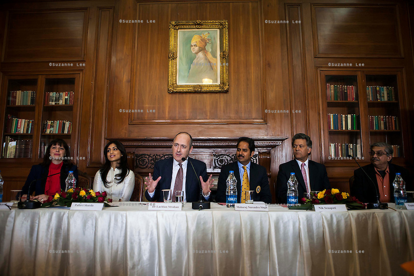 (L-R) Kathryn Deyell (DFAT), Pallavi Sharda (OzFest ambassador), Dr. Lachlan Strahan (Australian Deputy High Commissioner to India), Maharaj Narendra Singh (Maharaj of Jaipur), Nik Senapati (Rio Tinto Managing Director), and Yunus Khimani (of the Jaipur Palace) sit together as Dr. Lachlan Strahan speaks during a press conference on Oz Fest in Raj Mahal Palace hotel, Jaipur, India on 10th January 2013. Photo by Suzanne Lee/DFAT
