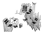 (a cleaning woman washing the floor after a party sees the figure of a drunken party-goer trapped in stacks of chairs)