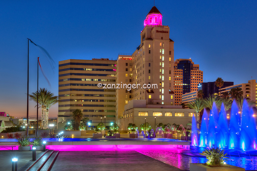 Long Beach, CA, City, Breakers Retirement Apartments, Cityscape, Urban, Sunset, Dusk, Fountains,