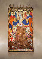 Gothic Catalan altarpiece depicting the Madonna of Mercy by Bonant Zaortiga, circa 1430-1440, tempera and gold leaf on wood, from the church of Mare de Dieu de Carrasca , Blancas, Terol, Spain. Against a art background. <br /> Bonnat Zaortiga was one of the most prominent representatives of the international Gothic. The Mother of God of Mercy  protects humans with her cape, symbolizing one of the most feared evils of the European Middle Ages, plague, often understood as a punishment for the sins of mankind. This was the central panel of the altarpiece of the church of the Mother of God. National Museum of Catalan Art, Barcelona, Spain, inv no: MNAC 3945.