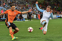 Melbourne, 3 December 2016 - NICK FITZGERALD (12) of Melbourne City tries to block a kick by JACK HINGERT (19) of Brisbane Roar in the round 9 match of the A-League between Melbourne City and Brisbane Roar at AAMI Park, Melbourne, Australia. Melbourne drew with Brisbane 1-1 (Photo Sydney Low / sydlow.com)
