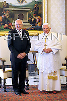 Pope Benedict XVI is seen during a meeting with President of the Czech Republic Vaclav Klaus, at the Vatican, Saturday, May 30, 2009.