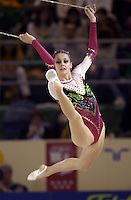 October 21, 2001; Madrid, Spain:  DANIELA MASSERONI of Italy performs with clubs at 2001 World Championships at Madrid.