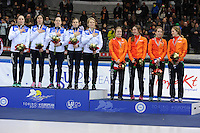 SHORT TRACK: TORINO: 15-01-2017, Palavela, ISU European Short Track Speed Skating Championships, Podium Relay Ladies, Team Italy, Team Netherlands, Suzanne Schulting, Yara van Kerkhof, Rianne de Vries, Lara van Ruijven, ©photo Martin de Jong