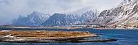 View over Selfjord towards Ramberg and Flakstadøya, viewed form near Fredvang, Lofoten islands, Norway