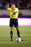 The evenings referee Terry Vaughn puts on the breaks. The Colorado Rapids defeated CD Chivas USA 1-0 at Home Depot Center stadium in Carson, California on Saturday March 26, 2011...