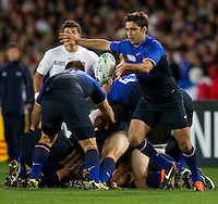 Rugby World Cup Auckland  England v France  Quarter Final 2 - 08/10/2011.  DIMITRI YACHVILI (FRA) clears the ball from the scrum.  Photo Frey Fotosports International/AMN Iages