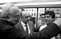 Roma Giugno 1985.Manifestazione per i Referendum sul costo del lavoro.Claudio Martelli (Partito Socialista Italiano), Giovanni Spadolini   (Partito Repubblicano Italiano), Ciriaco De Mita (Democrazia Italiana).