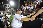 Ole Miss Coach Hugh Freeze celebrates following a win over Central Arkansas at Vaught-Hemingway Stadium in Oxford, Miss. on Saturday, September 1, 2012. Mississippi won 49-27.