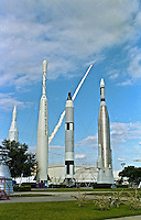"A Space Shuttle blasts off behind the ""Rocket Garden"" , a display of old US spacecraft at Kennedy Space Center, Tituusville, FL.  (Photo by Brian Cleary/www.bcpix.com)"