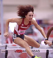 NWA Democrat-Gazette/BEN GOFF @NWABENGOFF<br /> Taliyah Brooks of Arkansas runs her heat of the 60 meter hurdles prelims Friday, Feb. 10, 2017 during the Tyson Invitational at the Randal Tyson Track Complex in Fayetteville.