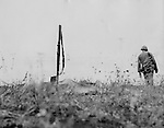 His bayonted rifle marking the spot for a burial detail, the poncho-covered body of a Marine lies on a Saipan battlefield. American casualties in this struggle have been greater than any previous Pacific operation.