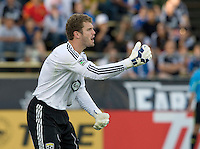 Crew goalkeeper William Hesmer in action during the game against the Earthquakes at Buck Shaw Stadium in Santa Clara, California on June 2nd, 2010.  San Jose Earthquakes tied Columbus Crew, 2-2.