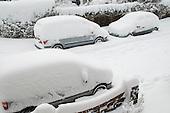 Winter snow in a suburban street
