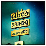 Abe's BBQ sign in Clarksdale, Miss. in 2012..Photo taken with an IPhone 4 using Hipstamatic app. .©2012 Bruce Newman