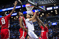 BROOKLYN, NY - Saturday December 19, 2015: Skal Labissiere (#1) of Kentucky runs into traffic of the Ohio State defense as the two teams square off in the CBS Classic at Barclays Center in Brooklyn, NY.
