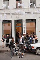 An opening at Eigen+Art Gallery, one of Berlin's leading galleries, selling contemporary German art to international collectors. The gallery is located on Auguststrasse, formerly a deserted and derelict part of East Berlin but now the centre of an increasingly upmarket gallery and restaurant scene..
