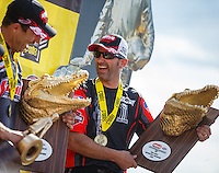 Mar 20, 2016; Gainesville, FL, USA; NHRA pro stock motorcycle rider Eddie Krawiec celebrates after winning the Gatornationals at Auto Plus Raceway at Gainesville. Mandatory Credit: Mark J. Rebilas-USA TODAY Sports