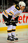 22 April 2009: Boston Bruins' left wing forward Milan Lucic warms up prior to facing the Montreal Canadiens at the Bell Centre in Montreal, Quebec, Canada. The Canadiens, down three games to none, are facing elimination and a possible four-game sweep by the Division winning Bruins. ***** Editorial Sales Only ***** Mandatory Credit: Ed Wolfstein Photo