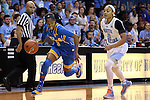 16 November 2014: UCLA's Jordin Canada (3) and North Carolina's Latifah Coleman (2). The University of North Carolina Tar Heels hosted the University of California Los Angeles Bruins at Carmichael Arena in Chapel Hill, North Carolina in a 2014-15 NCAA Division I Women's Basketball game. UNC won the game 84-68.