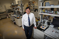 NWA Democrat-Gazette/ANTHONY REYES &bull; @NWATONYR<br /> Tony Cruz, chief executive officer of SFC Fluidics, Thursday Dec. 3, 2015 in the lab at the company's headquarters in Fayetteville. The company is developing a way to automate insulin delivery for diabetics.