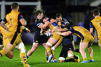 Nick Auterac of Bath Rugby tackles a Bristol player. European Rugby Challenge Cup match, between Bath Rugby and Bristol Rugby on October 20, 2016 at the Recreation Ground in Bath, England. Photo by: Patrick Khachfe / Onside Images
