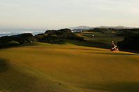 Greenskeeper at dawn, #15 green Bandon Dunes Golf Resort, Bandon Oregon