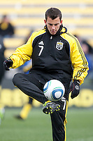 Mar 26, 2011; Columbus, OH, USA; Columbus Crew midfielder Bernardo Anor (7) in warmups before their match against New York Red Bulls their match at Columbus Crew Stadium.