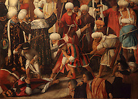 Detail of Martirio di San Marco, or The Martyrdom of St Mark, with the saint tied up on the ground being whipped and dragged, Renaissance painting by Giovanni Bellini, 1430-1516, and Vittore Belliniano, 1456-1529, in the Gallerie dell'Accademia, Venice, Italy. The painting was commissioned in 1515 and finished by Belliniano in 1526, after the death of Bellini. St Mark was martyred in 68 AD in Alexandria, by being tied up and dragged through the streets (right). It was originally painted for the Sala dell'Albergo of the Scuola Grande di San Marco. Picture by Manuel Cohen