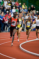 EUGENE, OR--From left, Ben Limo, Alan Webb race in the men's 2 mile at the Steve Prefontaine Classic, Hayward Field, Eugene, OR. SUNDAY, JUNE 10, 2007. PHOTO © 2007 DON FERIA