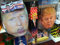 An It'Sugar store in New York displays an assortment of Hillary Clinton and Donald Trump Halloween themed masks and other tchotkes on Sunday, October 2, 2016. (© Richard B. Levine)