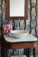 Nile, a jewel glass water jet mosaic, is shown in Jasper and Lavastone.