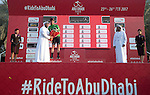 Mark Cavendish (GBR) Team Dimension Data wins Stage 1 Emirates Motor Company Stage and wears the points Green Jersey of the 2017 Abu Dhabi Tour, running 189km from Madinat Zayed through the desert and back to Madinat Zayed, Abu Dhabi. 23rd February 2017<br /> Picture: ANSA/Claudio Peri | Newsfile<br /> <br /> <br /> All photos usage must carry mandatory copyright credit (&copy; Newsfile | ANSA)